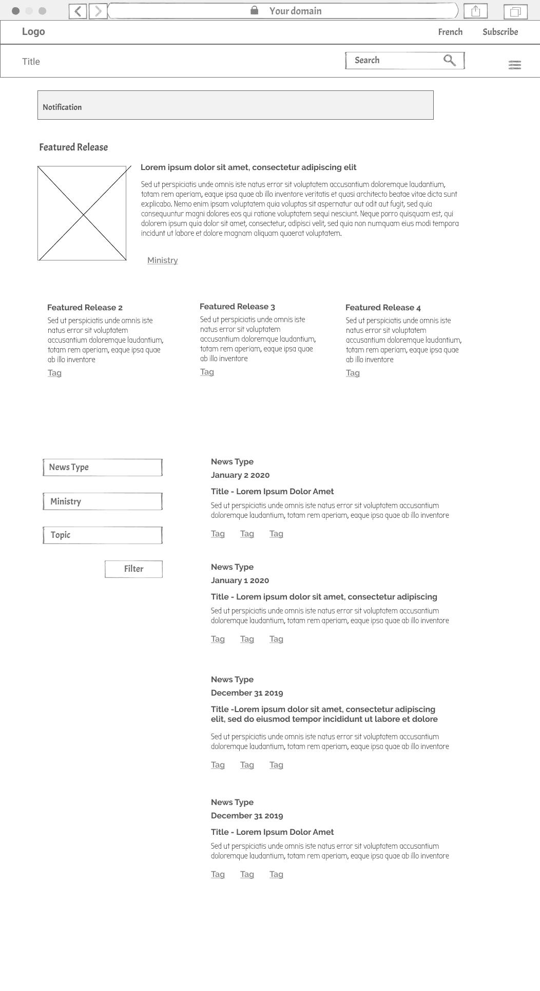 NEsroom home page low fidelity