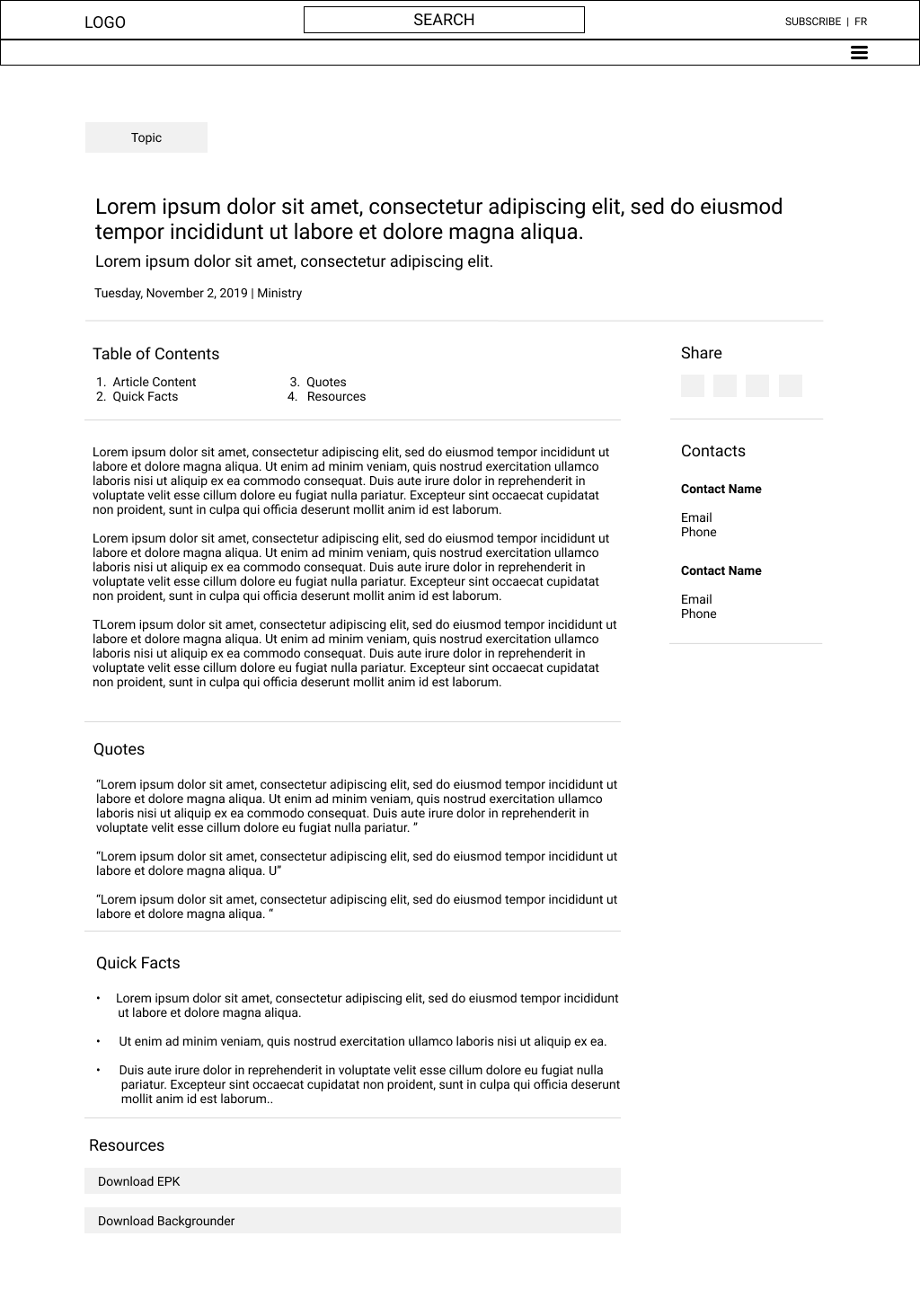 Newsroom release page low fidelity