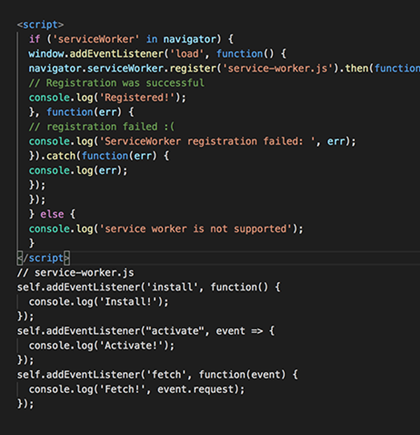 Progressive Web App Code
